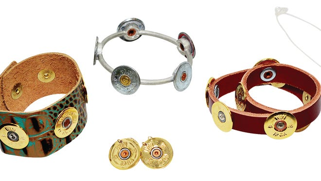 Lizzy J's shotshell jewelry, bangle $35; wrap $35; cuff $31; earring $20; necklace $27, at Nixon's.
