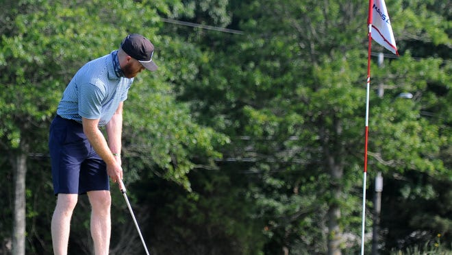 Chris Curtis watches his 6-foot putt circle the cup before dropping in on the fourth hole Thursday at Bass River Golf Course, which hosted a qualifier for the Mass Golf Amateur Public Links Championship. Curtis, who plays out of Captains Golf Course in Brewster, missed the cut.