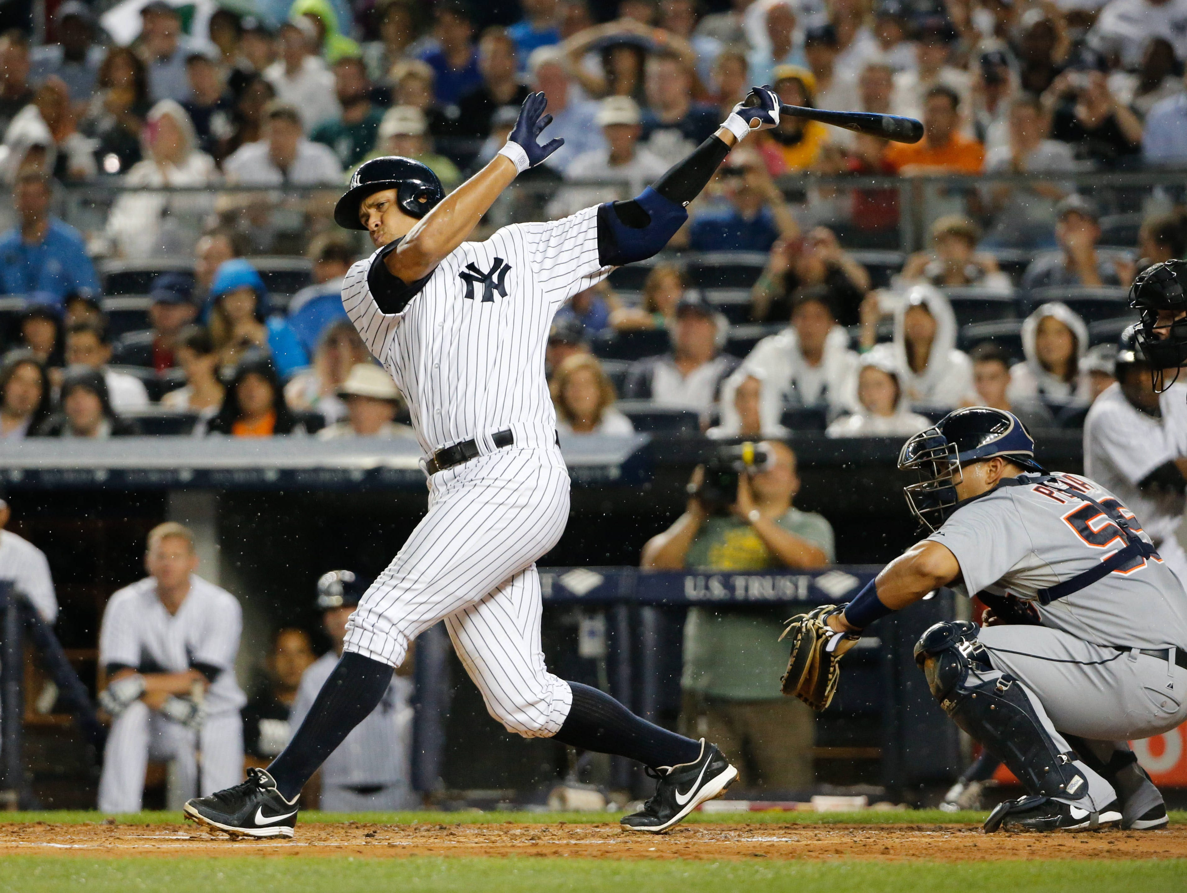 Alex Rodriguez goes 0-for-4 with three strikeouts in his season debut at Yankee Stadium on Aug. 9.