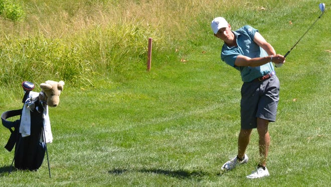 Josh Goldenberg hits into the ninth green during a semifinal win on Wednesday at the Westchester Amateur championship.