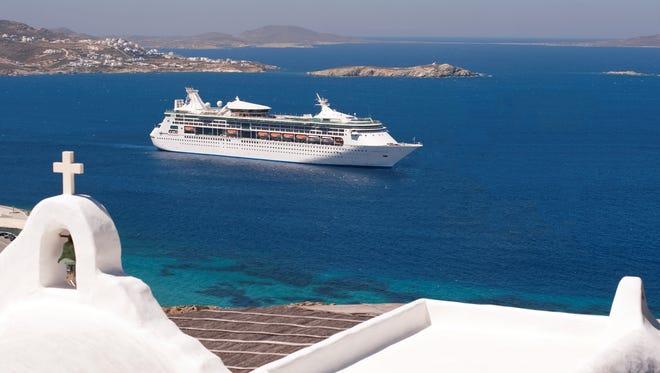 Royal Caribbean's Grandeur of the Seas sails off the coast of Mykonos, Greece.