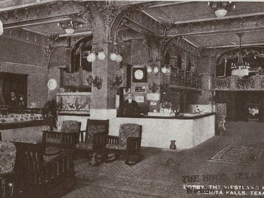 This is a postcard of Wichita Falls' Westland Hotel lobby. According to a newspaper clipping, it was one of the city's finest early-day hotels and sat on the 500 block of Seventh Street.