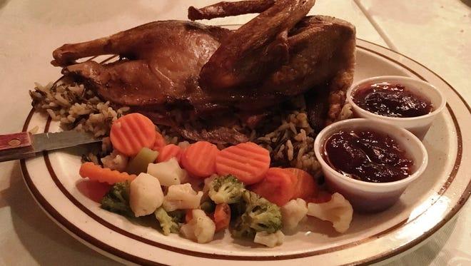 Roast duck from 5 Pillars Restaurant and Banquet Hall in Random Lake.
