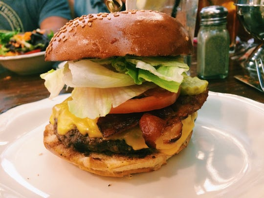Tops Diner burger: The Classic Cheeseburger with bacon from Tops Diner in Newark.