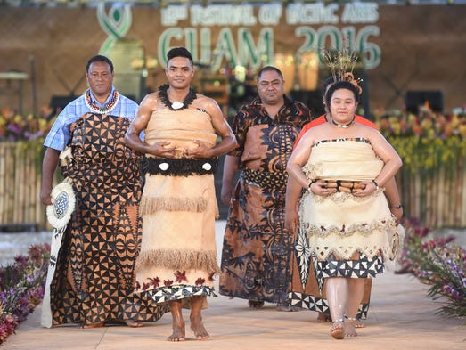 Models display traditional wedding attire from Tonga
