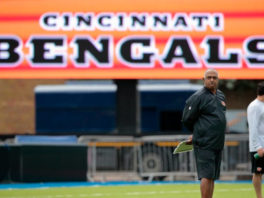 Cincinnati Bengals head coach Marvin Lewis watches practice at Allianz Park, Friday, Oct. 28, 2016, ahead of the game against the Washington Redskins at Wembley Stadium in London.
