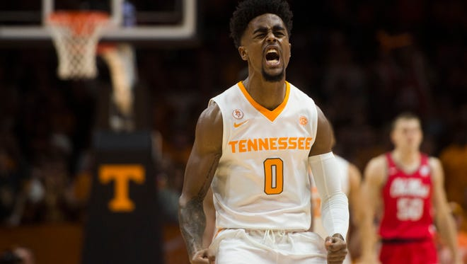Tennessee guard Jordan Bone (0) celebrates a play during a basketball game between University of Tennessee and Ole Miss at Thompson-Boling Arena Saturday, Feb. 3, 2018.