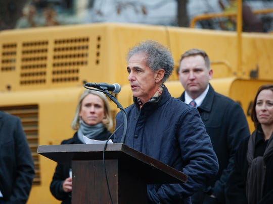 Rick Kantor speaks during the Ziegler Park ground break Wednesday. Kantor and his family financially supported part the $30 million renovation as a tribute to his father, Milt Kantor.
