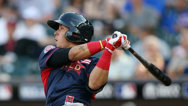 Javier Baez, shown at the  All Star Futures Game  July 13, hit his 15th homer of the season Thursday night for the Iowa Cubs during a victory at Round Rock (Texas).