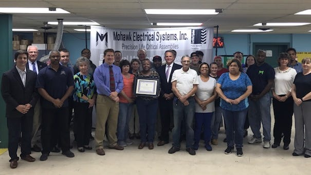 Mohawk Electrical Systems received a certificate Tuesday from the Delaware Department of Insurance to recognize the completion of 30 years in the Workplace Safety Program.