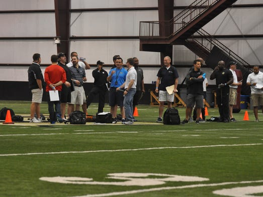 NFL representatives gathered at the Nicholson Fieldhouse