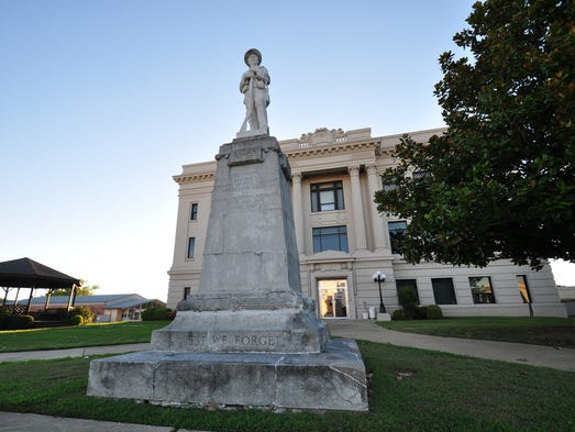 The Confederate Soldier Statue stands outside the Bryan