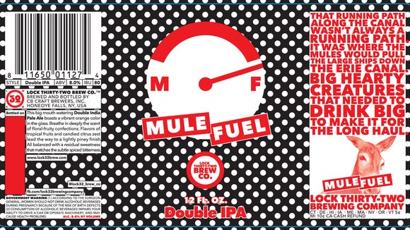 This is the label for Lock 32's Mule Fuel Double IPA.