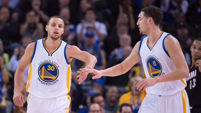 Golden State Warriors guards Stephen Curry (30) and Klay Thompson (11) come to town Sunday to face the Pacers.