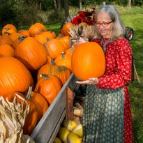 Nina Look, Executive Director of the Jonathan Clark House, is dressed in period costume as she takes a look at the locally-grown pumpkin harvest at the Fall Fest Sept.25 at the historic Jonathan Clark House in Mequon.