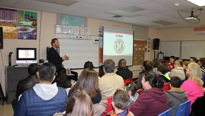 Director of Technology Andrew Levine introduces the Nutley school district's Sixth Grade 1:1 Chromebook Initiative at Radcliffe Elementary School.