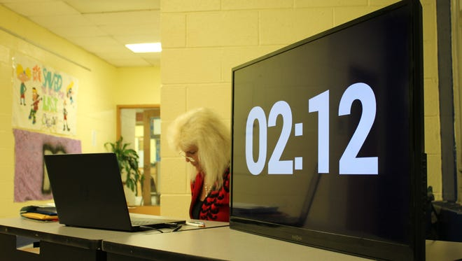 This timer counts down for attendees who make public comments during Belleville school board meetings. The Board of Education stands out in its use of the clock.