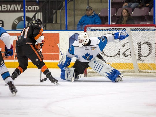 St. Cloud State recruit Zach Driscoll moves to make a save for the Penticton Vees of the British Columbia Hockey League.
