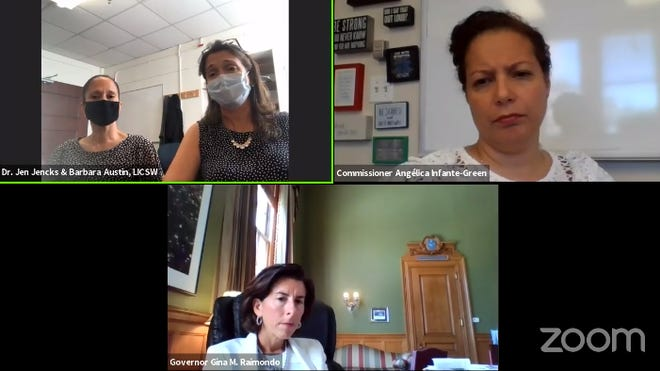 A screen grab from Gov. Gina Raimondo's Facebook Live event with Education Commissioner Angélica Infante-Green, and Barbara Austin and Jennifer Jencks of Bradley Hospital.