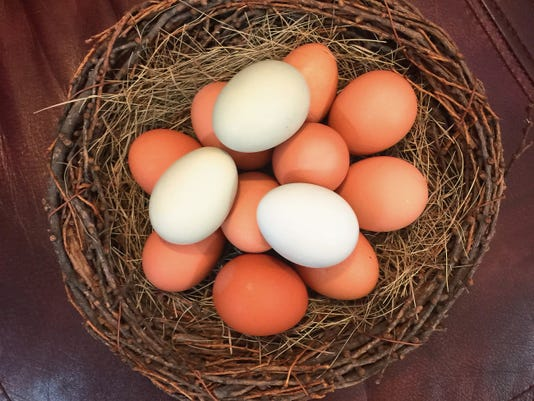 Pictured is a basket of Connie Isbell's eggs donated to The Nest.