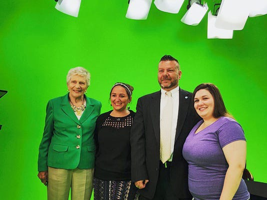 State Sen. Pat Vance (left) met with murder victim Barb Schrum's daughters Alecia Armold (second from left) and Becky Schrum (far right) to discuss domestic violence issues. Also at the meeting was Rick Azzaro, chief services officer of Access-York, which helps victims of domestic violence.