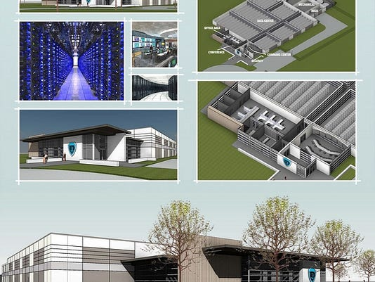 Renderings of United Fiber & Data's planned data centers in Pennsylvania. The fortified structures will be located in Allentown, York, Lancaster and Reading. Each will cost $22 million and house information storage space.