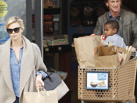 Sean Penn with Charlize Theron and her son Jackson
