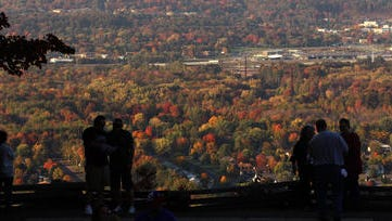 Visitors to Rib Mountain State Park enjoy the view toward the north.