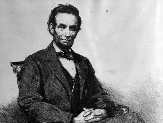 Drawing of Abraham Lincoln, 16th President, from the
