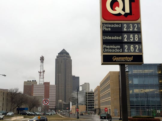 A QuikTrip convenience store on the western edge of downtown displays gas prices for consumers. Tumbling gas prices are good news for Iowa consumers, experts say. Petroleum Industry analysts predict gasoline prices will head even lower because crude oil prices have fallen to a five-year low — and will likely remain low in 2015.