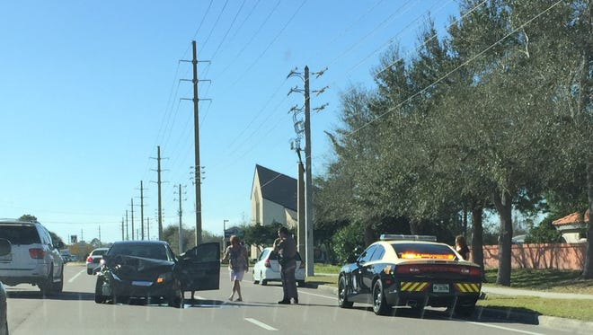 A crash involving four vehicles snarled traffic on Wickham Road near Forrest Lake Road on Friday afternoon.