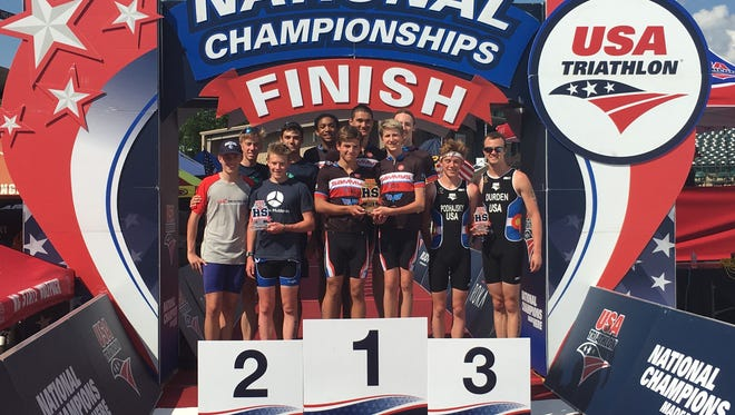 Roberson senior Oliver Porter and the rest of the Carolina Varsity Tri Club placed second in the USA Triathlon National Championships held last weekend in Tuscaloosa, Ala.