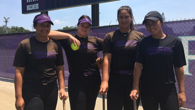 New Zealanders, from left, Mikayla Werahiko, Courtney Gettins,   Kayla Rangiawha and Mereana Makea have helped FSW to the junior college national tournament May 17-20 in St. George, Utah.