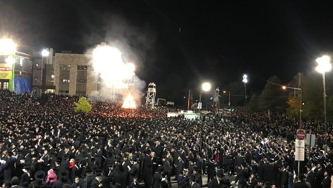 Thousands of people in Kiryas Joel celebrate Lag B'Omer, an ultra-Orthodox Jewish holiday, on Sunday, May 14, 2017.