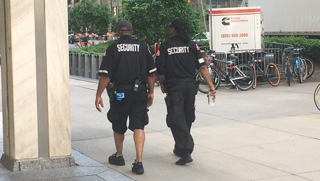 Securitas officers in downtown Detroit on May 31, 2018