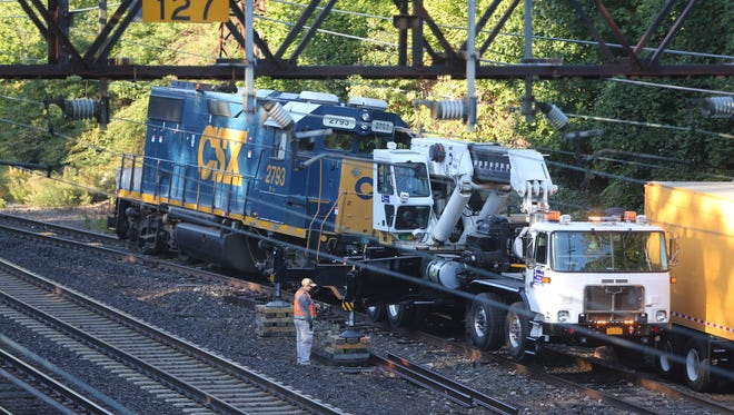 A CSX locomotive derailed on a Metro-North spur track to Mamaroneck's industrial area, Oct. 12, 2016. One set of wheels came off the track.