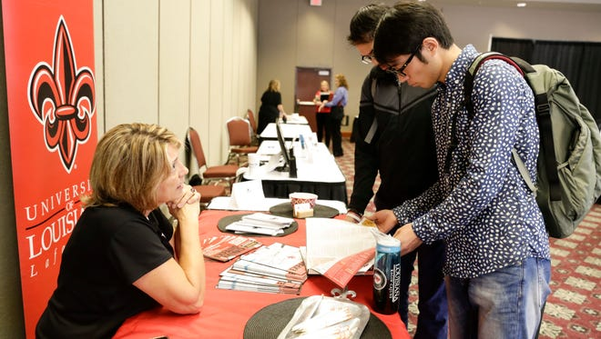 Babs Dees of UL Lafayette speaks to attendees during a career development and networking expo at theLAGCOE Education & Innovation Summit Oct. 27, 2016 in Lafayette.