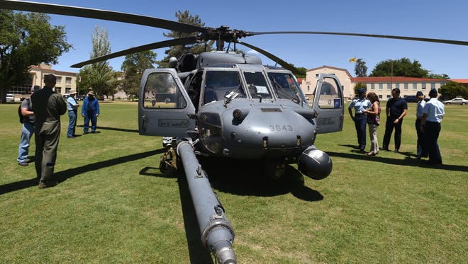 A United States Air Force HH-60 Pave Hawk special operations helicopter out of Kirtland Air Force Base in Albuquerque appeared on the NMSU Horseshoe in honor of the 114th annual NMSU ROTC Pass-in-Review event.