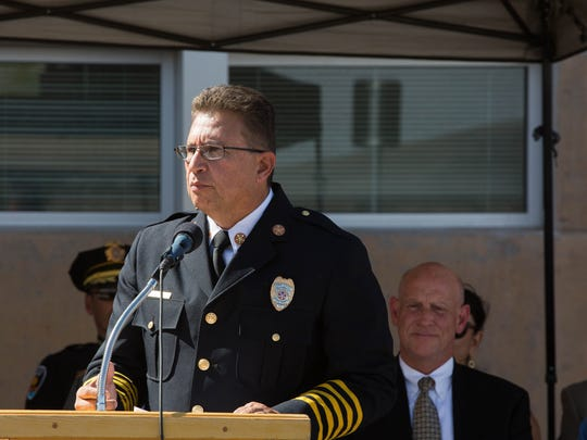 Eric Enriquez, the Las Cruces fire chief, giving remarks about the new public safety campus that will house both police and fire personal. Thursday, June 15, 2017.