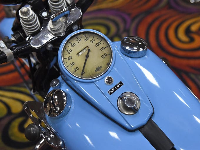 Images from the vintage motorcycles show inside the
