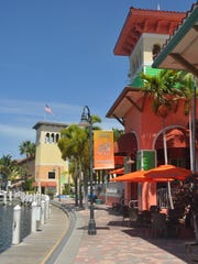 Boaters can dock and dine at Rumrunners, then take a leisurely stroll  along the waterfront.