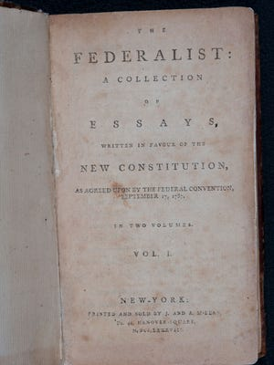 """Arizona State University has acquired a first edition of """"The Federalist,"""" published in 1788."""