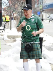 Pat Egan, of Marysville, wore a kilt to the St. Patrick's