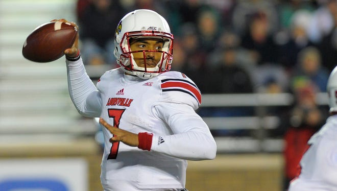 The Cardinals will rely on freshman quarterback Reggie Bonnafon for the rest of the season after Will Gardner went out with a knee injury against Boston College. Here he throws during the second half against the Eagles on Nov. 8.