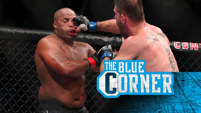 Daniel Cormier (left) gets poked in the eye during his trilogy fight with heavyweight champion Stipe Miocic at UFC 252 on Saturday in Las Vegas. The Blue Cormer/MMA Junkie/USA TODAY Sports