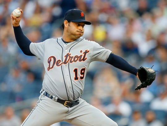 Tigers' Anibal Sanchez pitches in the first inning