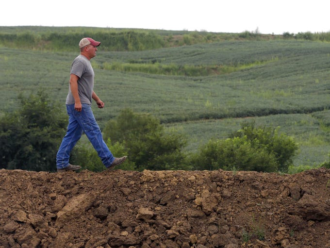 Justin Dammann walks across a newly-constructed terrace on his Page County farmland.  The Dammann family continues to invest in terracing their fields to stop runoff and reduce soil erosion.