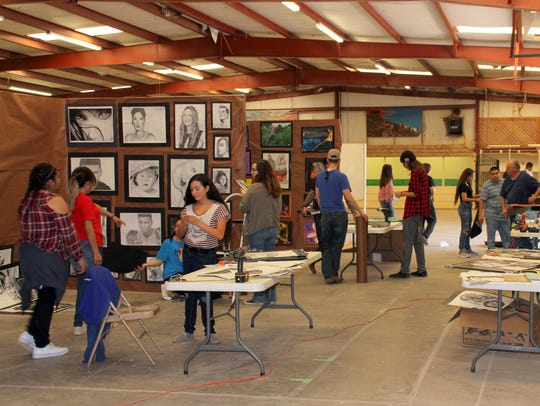 Deming High School art students were busy preparing