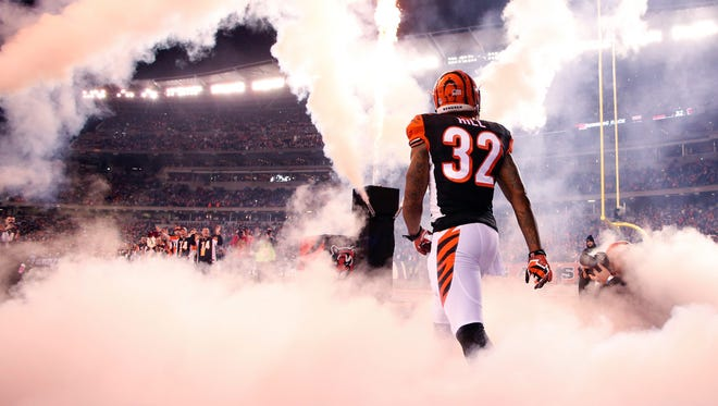 Bengals running back Jeremy Hill enters Paul Brown Stadium before a game against the Denver Broncos last season.