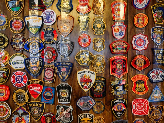 Patches from police and fire departments that have